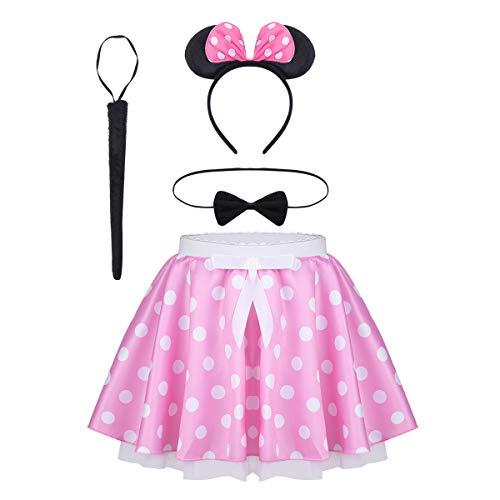 inlzdz Kids Baby Girls Fancy Mouse Costume Polka Dot Tutu Skirts Headband Necktie Cosplay Outfit Pink 12-14