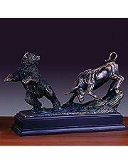 "Bronze Finished Resin Sculpture Stock Market Bear & Bull 13"""