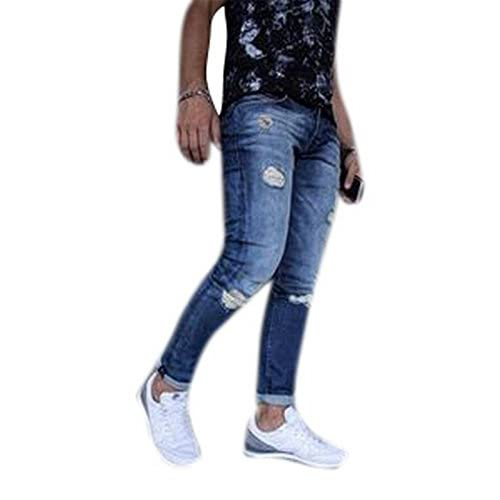 d5627cfcce9 Men's Fashion Skinny Ripped Jeans Destroyed Holes Denim Pants new ...