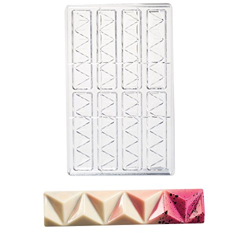 Martellato Polycarbonate Chocolate Mold, Pyramidal Bar 123mm x 27mm x 12mm High, 8 - 27mm Bar