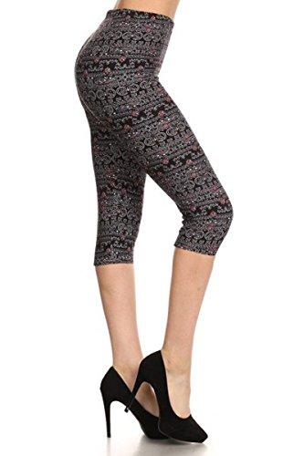 Bijou Blend (Leggings Depot Women's Popular Capri Cropped Printed High Waist Leggings Batch4 (Regular (Size 0-12), Bijou Paisley))