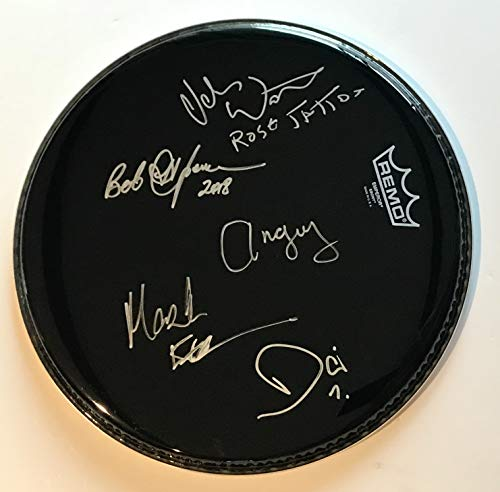 Rose Tattoo group signed drumhead angry anderson mark evans ac/dc autographed - Harley Davidson Instruments