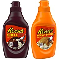 Reese's Chocolate & Reese's Peanut Butter Toppings 2 Set / 7.5oz. Perfect combo for any dessert or ice cream topping.