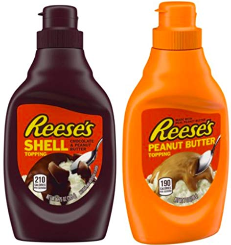 Reese's Chocolate & Reese's Peanut Butter Toppings 2 Set / 7.5oz. Perfect combo for any dessert or ice cream - Ice Peanut Cream Butter