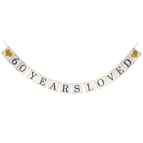 Hatcher lee 60 Years Loved Banner -60TH Birthday Party 60th Anniversary Party Decoration Bunting (Gold and White)]()