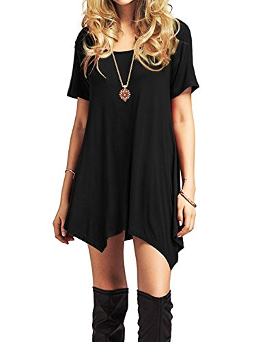American Trends Womens Short Sleeve Flowy Casual Dresses Summer Swing Dress T-Shirt Midi Tunics