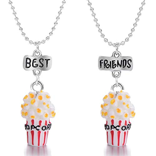 imixlot 2 Pcs Kids Jewelry Set Best Friend Donut Necklace for Girl Colorful Pendant Dress Up Accessories Costume Jewelry Beaded Charms for Toddler Cute Jewelry Set Halloween Christmas Birthday -