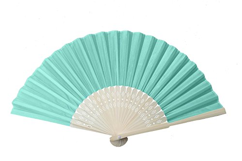 IGBBLOVE Silk Folding Hand Fan Wedding Party Favor- Aqua Blue,10 pack