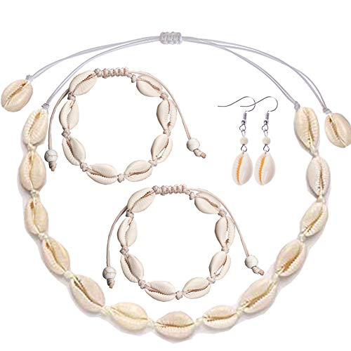 (MAXHOPE 5Pack Shell Choker Necklace Bracelet Earrings Anklet Handmade Bohemia Pendant Hawaii Summer Beach Conch Jewelry Set Collar Necklace Adjustable for Girls Women)