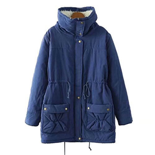 BiSHE Womens Thick Warm Parkas Mid Length Solid Coats Faux Fur Lined Winter Outwear Jacket (L, Navy)