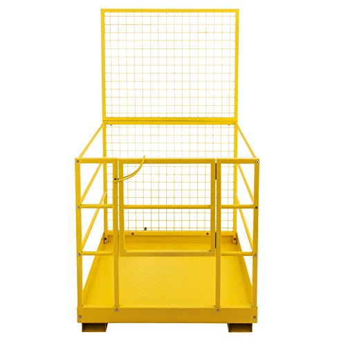 Mophorn Forklift Safety Cage 45 x 43 Inch Fork Lift Work Platform 1200lbs Capacity Heavy Duty Steel Forklift Safety Lift Basket Aerial Fence Rails Yellow Pallet loader Fork lift Safety Cage (45''x43'') by Mophorn