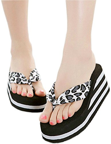 bettyhome Women Lady Sexy Leopard High Heels Rainbow Comfortable Thongs Casual Wedges Sandals Beach Flip Flops Slippers Black jFHSQ6F