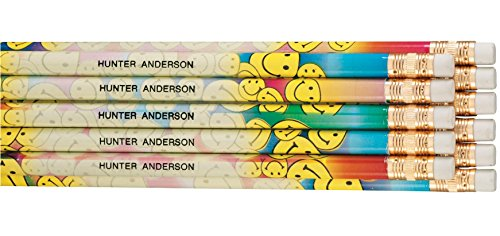(Personalized Happy Face Pencils, Set of)