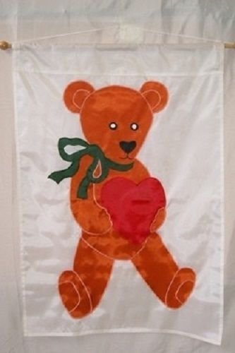 ALBATROS 28 in x 40 in Embroidered Sewn Teddy Beay Heart Appliqued Nylon Garden Flag 28 in x 40 in for Home and Parades, Official Party, All Weather Indoors Outdoors
