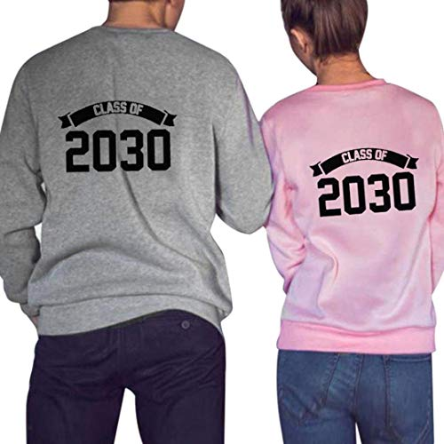 e71b9d256ab9e2 Women's Class of 2030 Letter Print Long Sleeves T-Shirt Top Blouse Couple  Shirt Thick