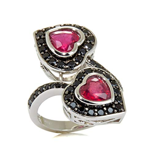 - Victoria Wieck Collection Sterling Silver Ruby Heart Black Spinel Bypass Ring (7)