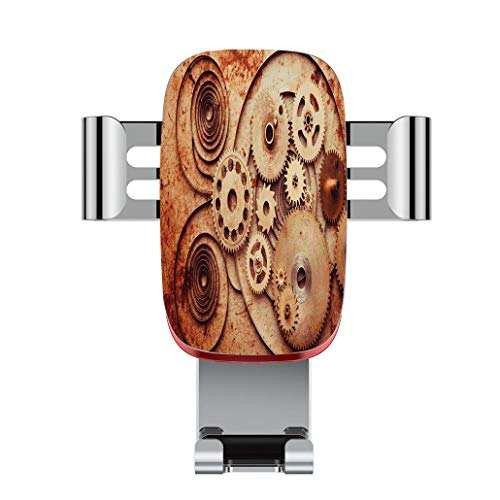 Metal Automatic car Phone Holder,Copper,Mechanical Clocks Details Old Rusty Look Backdrop Gears Steampunk Design,Adjustable 360 Degree Rotation, car Phone Holder Compatible with 4-6.2 inch Smartphone