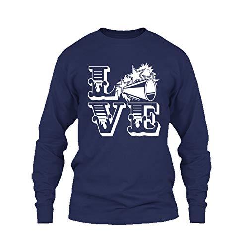 Cool Love Cheerleading T Shirt, Long Sleeve Shirt, Long Sleeve (S,Navy)