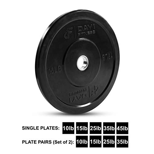 "Day 1 Fitness Olympic Bumper Weighted Plate 2"" for Barbells, Bars – 15 lb Single Plate - Shock-Absorbing, Minimal Bounce Steel Weights with Bumpers for Lifting, Strength Training, and Working Out by Day 1 Fitness (Image #8)"