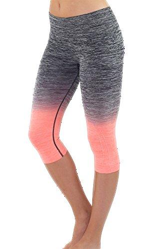 Ombre Activewear Yoga Capri Leggings, L, Black-Neon-Coral