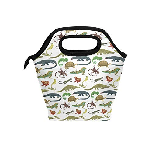 Lunch Bag Reptiles Animals Canvas Lunchbox Tote Cooler warm Pouch For Travel School Office