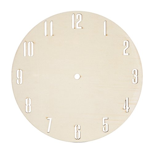 Darice DIY Unfinished Wood Circle with Laser Cut Numbers Clock Face, Multi -