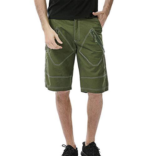 (Pocket Casual Cargo Sweatpants Fashion Men's Sport Drawstring Sport Shorts Army Green)