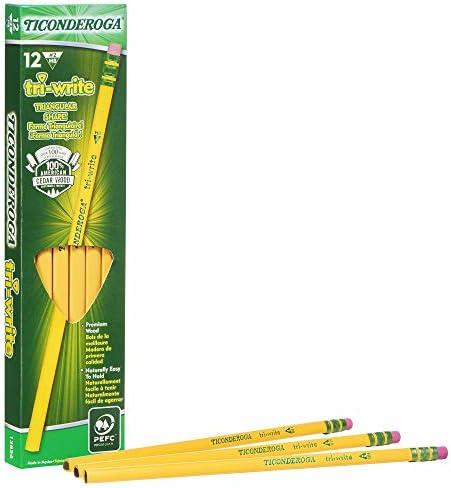 12-Pack Sharpener Wood-Cased #2 22500 - New Black Ticonderoga Tri-Conderoga Triangular Pencils Soft Touch Comfort Barrel