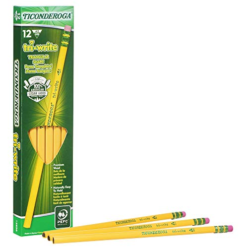 Ticonderoga Tri-Write Triangular Pencils, Wood-Cased #2 HB Soft, Yellow, 12-Pack (13856)