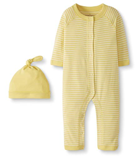 Moon and Back by Hanna Andersson Baby Snap Front One-Piece Organic Cotton Long Sleeve Romper with Cap Set, Yellow, 0-3 months ()