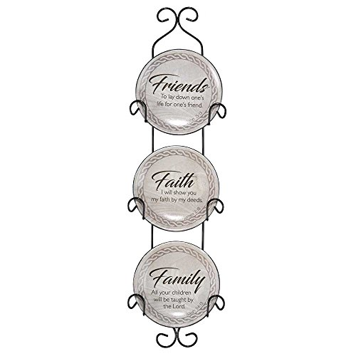Dicksons Friends Faith Family 18 inch Metal and Ceramic Plate Display Rack