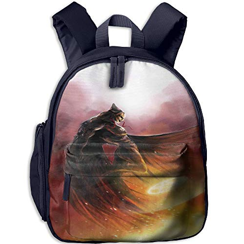 Haixia Kids' Boys'&Girls' Backpacks with Pocket Fantasy World Superhero in His Original Costume Flying Up Magic Flame Save The World Theme Yellow Red