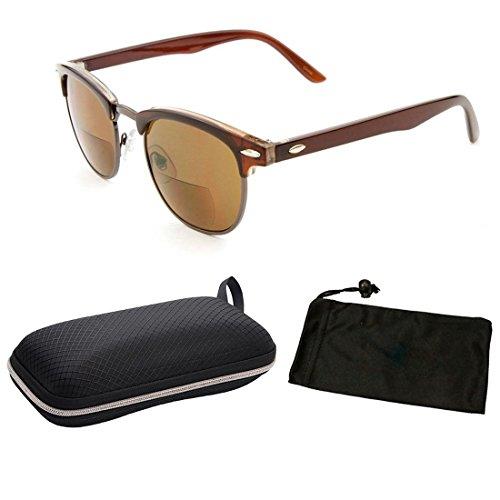 1 Pair Classic Half Rim Frame Clubmaster Metal Retro Geek Bifocal Sun Readers Reading Glasses (Brown, - Zoom Classic Sunglasses