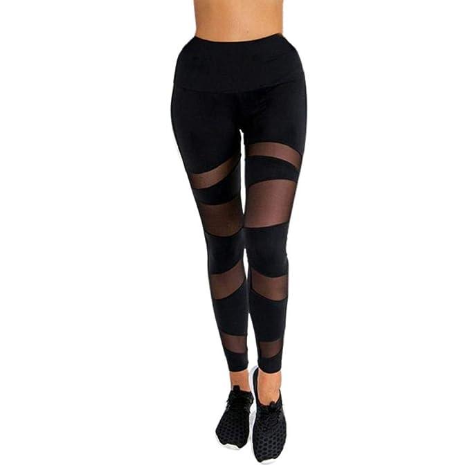 SHOBDW Pantalones Deportivos Mujeres Negro Deportes Yoga Estiramiento De Cintura Alta Transparente Entrenamiento Gimnasio Ejercicio FíSico