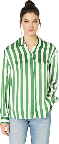 - Juicy Couture Women's Awning Stripe Satin Shirt Green Tea/Awning Stripe Small