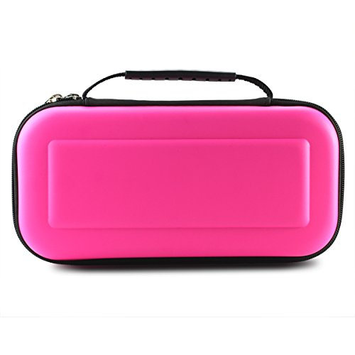 Nintendo Switch Case,ELECVELON Nintendo Switch Hard Carrying Case with 10 Game Cartridge Holders, Protective Travel Case for Nintendo Switch Console & Accessories, Hotpink