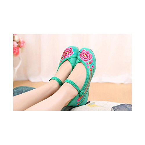 Chaussures Florales Chinoises Brodées Vintage Femme CHAHUA Ballerines Mary Jane Ballerine Flat Ballet Cotton Loafer Vert