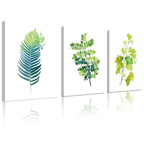 Natural art 3 Panels Wall Art Contemporary Simple Green Leaf Painting Wall Art Decor Framed Canvas Prints Small Tropical Plants Watercolor Giclee Ready to Hang Home Office Decor Gift 12x16inches ()