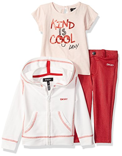 DKNY Baby Girls 3 Piece Kind is Cool T-Shirt, Hoodie, and Pant Set, Egret, 18M -