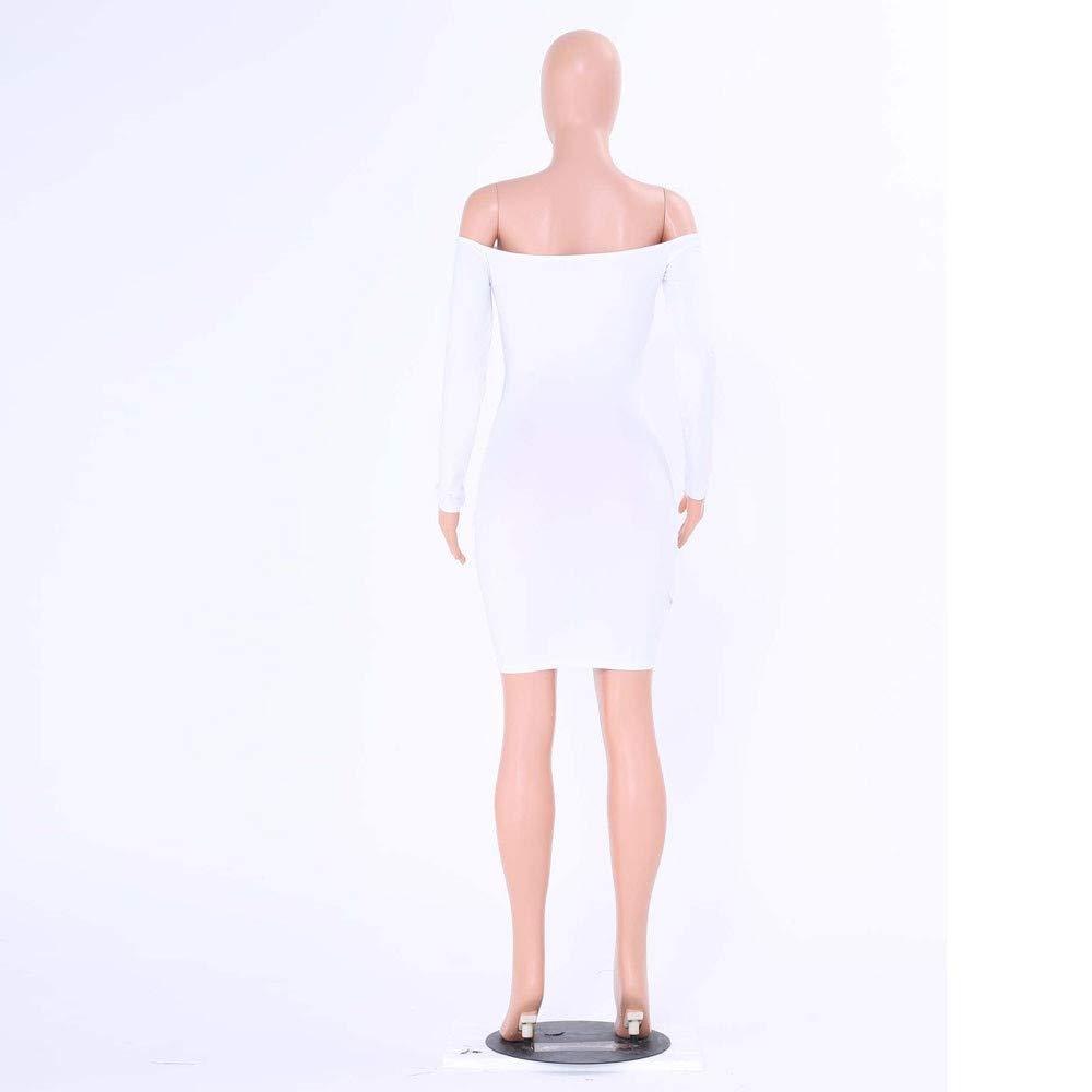 iLUGU Slash Neck Long Sleeve Mini Dress for Women Package Hip Summer Dresses for Women