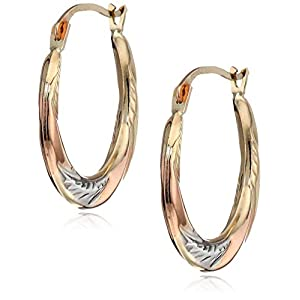 Women's 10K Gold Tri-Tone 20mm Hoop Earrings