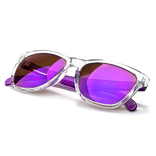 Colored Square Sunglasses For Men/Women, Transparent Frame,Gradient REVO Lens (Purple frame) -