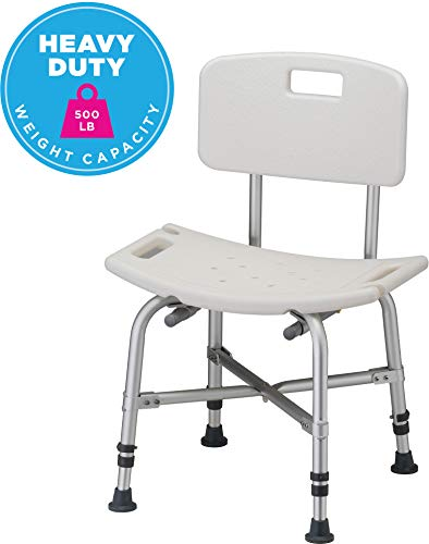 - NOVA Heavy Duty Shower & Bath Chair with Back, 500 lb. Weight Capacity, Quick & Easy Tools Free Assembly, Lightweight & Seat Height Adjustable, Great for Travel