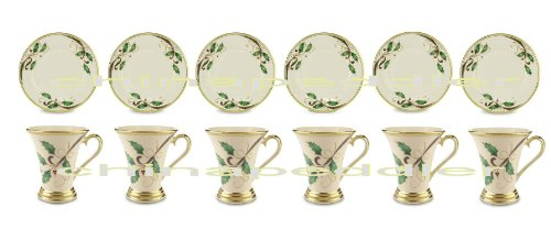Lenox Holiday Nouveau Gold 6 Salad Plates 6 Accent Mugs New