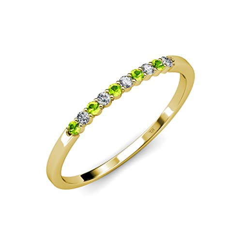 TriJewels Peridot and Diamond (SI2-I1, G-H) 10 Stone Wedding Band 0.25 ct tw in 14K Yellow Gold.size 9.0