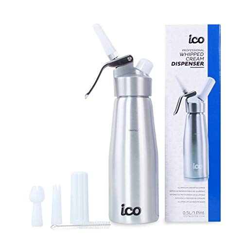 (ICO Professional Whipped Cream Dispenser for Delicious Homemade Whipped Creams, Sauces, Desserts, and Infused Liquors - uses 8g N2O cartridges (1 Pint, Silver))