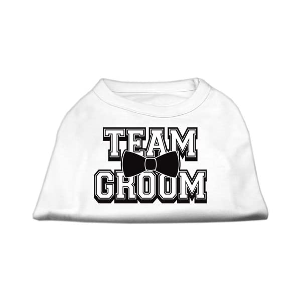 Mirage Pet Products 12-Inch Team Groom Screen Print Shirt for Pets, Medium, White 1