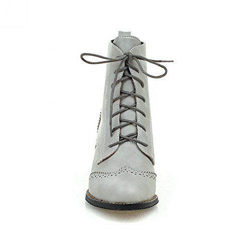 BalaMasa Girls Hollow Out Leopard Pattern Bandage Chunky Heels Imitated Leather Boots Gray 33d7m6em