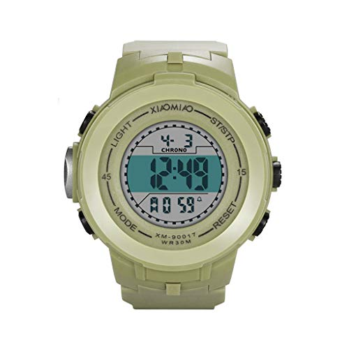 (Larmly Translucent Digital Sport LED Watch Silicone Band Wrist Watch Casual Outdoor Fashion Children Unisex New(Light Green) )