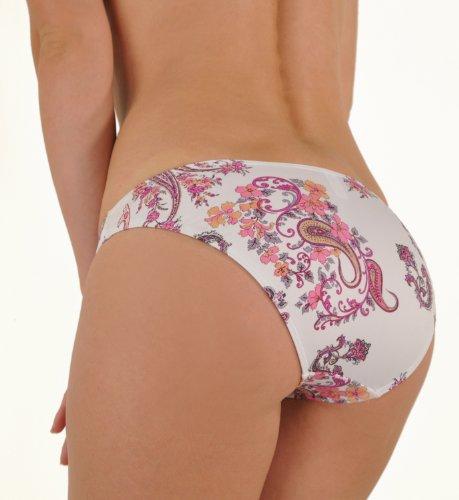 Janine Robin Byzance Classic Cut Bikini Bottom White Paisley 6-8 Small